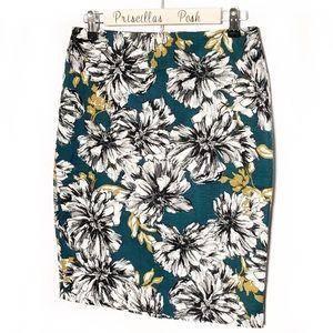Ann Taylor Teal Gold Floral Print Pencil Skirt SZ4